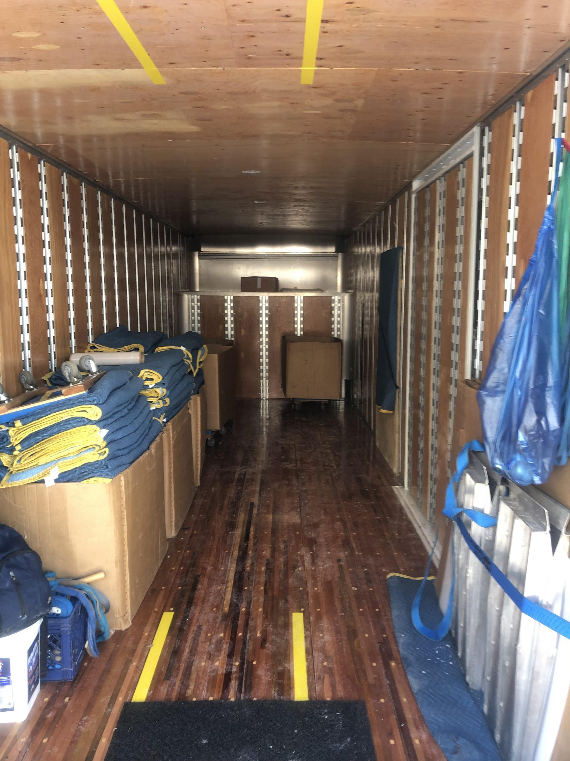 Interior of truck with moving supplies